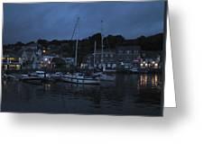 Padstow Harbor At Night Greeting Card