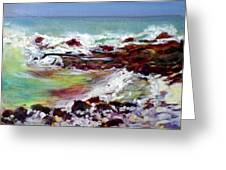 Pahoehoe Winter Surf Greeting Card