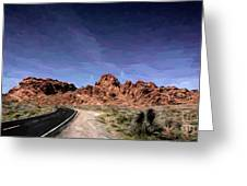 Paint Mixed Valley Of Fire Landscape  Greeting Card