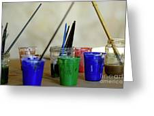 Paintbrushes Soaking In Water Greeting Card