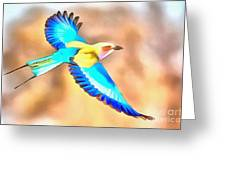 Painted Birds In Skyline Greeting Card