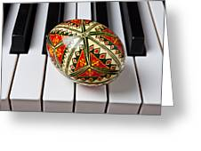 Painted Easter Egg On Piano Keys Greeting Card