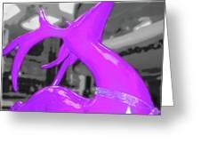 Painted Reindeer Purple Greeting Card