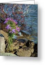 Painted River Flower Greeting Card