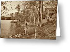Painted Shore Camps In Sepia Greeting Card