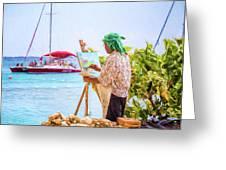 Painter At Work, Holetown Beach, Barbados Greeting Card