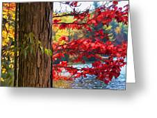 Painterly Rendition Of Red Leaves And Tree Trunk In Autumn Greeting Card
