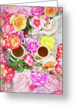 Painterly Tea Party With Fresh Garden Roses II Greeting Card