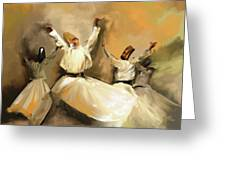 Painting 717 1 Sufi Whirl 3 Greeting Card