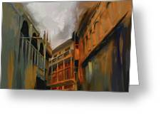 Painting 791 4 Wooden Architecture Greeting Card