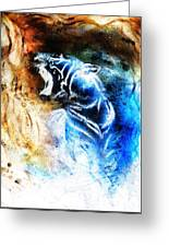 Painting Abstract Tiger Collage On Color Space Background Wildlife Animals. Greeting Card
