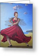 Painting Artwork Flamenco Dancing In Seville Beach  Greeting Card