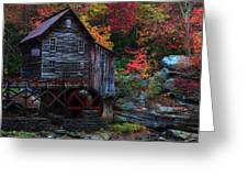 Painting Babcock State Park Glades Creek Grist Mill West Virginia Greeting Card