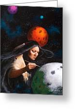 Painting Moons Greeting Card