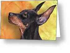 Painting Of A Cute Doberman Pinscher On Orange Background Greeting Card