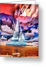 Painting Of Boats In Red Sunset Colors Greeting Card
