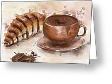 Painting Of Chocolate Delights, Pastry And Hot Cocoa Greeting Card