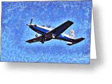 Painting Of Daedalus Demo Team Of Hellenic Air Force Flying A T-6a Texan II Greeting Card