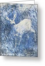Painting Of Young Deer In Wild Landscape With High Grass. Graphic Effect. Greeting Card