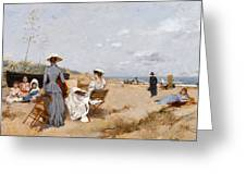 Painting On The Beach  Greeting Card