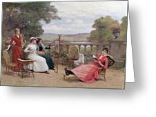Painting On The Terrace Greeting Card
