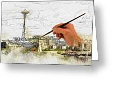 Painting Seattle Greeting Card