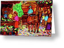Paintings Of Montreal Streets Old Montreal With Flower Cart And Caleche By Artist Carole Spandau Greeting Card