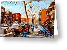 Paintings Of Verdun Streets In Winter Hockey Game Near Row Houses Montreal City Scenes Greeting Card by Carole Spandau