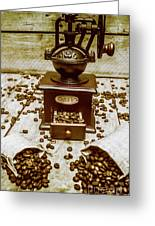 Pair Coffee Bean Bags Spilled In Front Of Grinder Greeting Card