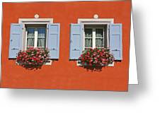 Pair Of Blue Shutters Greeting Card