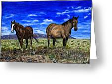 Pair Of Horses Painting Greeting Card