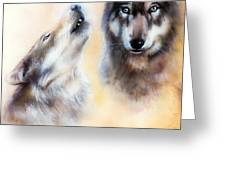 Pair Of Wolves Greeting Card