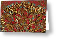 Paisley Fan In Dots  Greeting Card