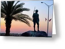 Palatka Memorial Bridge Doughboy At Sunset Greeting Card by Angie Bechanan