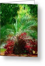 Palm And Azaleas Greeting Card