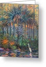 Palm And Egret Greeting Card