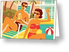 Palm Springs Poster - Retro Travel Greeting Card by Jim Zahniser