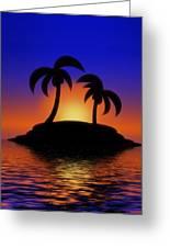 Palm Tree Island Greeting Card