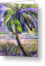 Palm Tree On Windy Beach Greeting Card