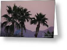 Palm Trees And Mountains At Sunset #1 Greeting Card