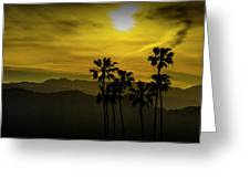 Palm Trees At Sunset With Mountains In California Greeting Card
