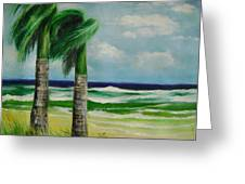 Palm Trees In The Wind Greeting Card