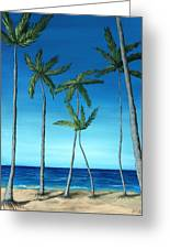 Palm Trees On Blue Greeting Card