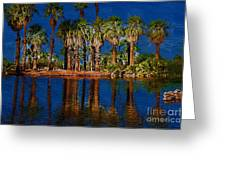 Palm Trees On The Water Greeting Card