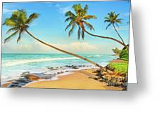 Palm Trees Over The Sea Greeting Card