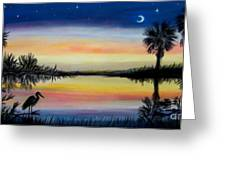 Palmetto Tree And Moon Low Country Sunset Greeting Card