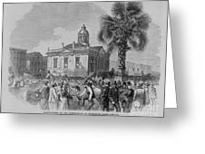 Palmetto Tree And Old Custom House Greeting Card