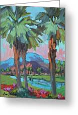 Palms And Coral Mountain Greeting Card