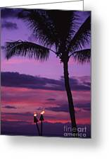 Palms And Tiki Torches Greeting Card
