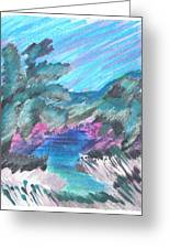 Palms In Silver Grass Greeting Card by Judy Loper